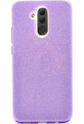 Casestore Huawei Mate 20 Lite Simli Sert Slim Fit Silikon Kılıf + Nano Glass Ekran Koruyucu Film Mor
