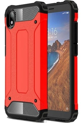 Teleplus Xiaomi Redmi 7A Kılıf Çift Katmanlı Tank Kapak Kırmızı