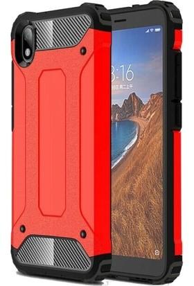 Teleplus Xiaomi Redmi 7A Kılıf Çift Katmanlı Tank Kapak + Nano Ekran Koruyucu Kırmızı