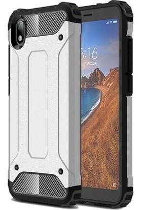 Teleplus Xiaomi Redmi 7A Kılıf Çift Katmanlı Tank Kapak + Nano Ekran Koruyucu Gümüş