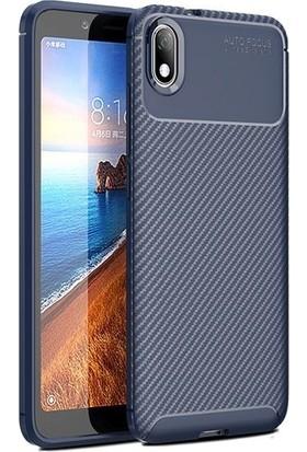 Teleplus Xiaomi Redmi 7A Kılıf Ultra Soft Negro Karbon Silikon + Nano Ekran Koruyucu Lacivert