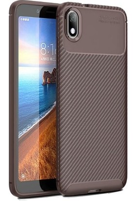 Teleplus Xiaomi Redmi 7A Kılıf Ultra Soft Negro Karbon Silikon + Nano Ekran Koruyucu Kahverengi