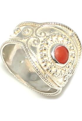 Nusret Takı 925 Ayar Gümüş Mercan Taşlı Telkari İşlemeli Yüzük