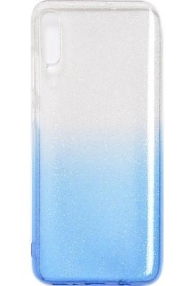 CoverZone Samsung Galaxy A10 Kılıf Simli Colored Ogy Kılıf Mavi