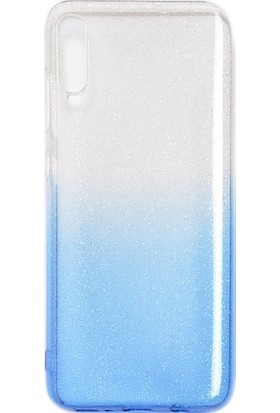 CoverZone Samsung Galaxy A70 Kılıf Simli Colored Ogy Kılıf + Temperli Ekran Koruma Mavi