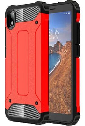 KNY Xiaomi Redmi 7A Kılıf Çift Katmanlı Armour Case + Cam Ekran Koruyucu Kırmızı