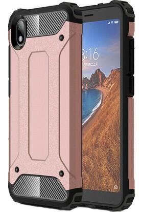 KNY Xiaomi Redmi 7A Kılıf Çift Katmanlı Armour Case + Cam Ekran Koruyucu Rose Gold