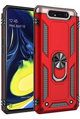 Happyshop Samsung Galaxy A80 Kılıf Çift Katmanlı Yüzüklü Standlı Vega Kapak + Nano Cam Ekran Koruyucu Kırmızı