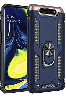 Happyshop Samsung Galaxy A80 Kılıf Çift Katmanlı Yüzüklü Standlı Vega Kapak + Nano Cam Ekran Koruyucu Lacivert