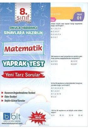 Bulut Eğitim 8. Sınıf Matematik Yaprak Test