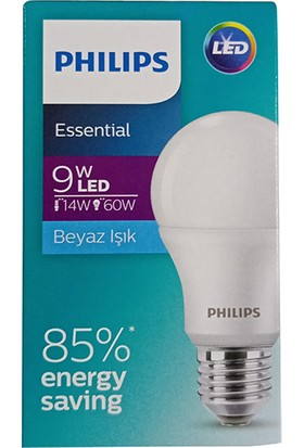 Philips Essential 9 W E27 Duy LED Ampül Beyaz 5'li Paket