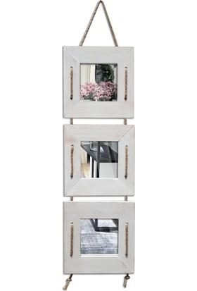 Tahta Dekor Halat Askılı 3 lü Beyaz Dekoratif Ayna