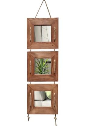 Tahta Dekor Halat Askılı 3 lü Fındık Dekoratif Ayna