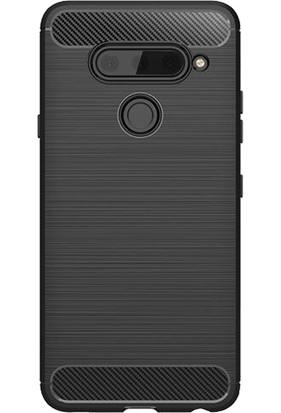 Microcase LG V40 ThinQ Brushed Carbon Fiber Silikon TPU Kılıf Siyah