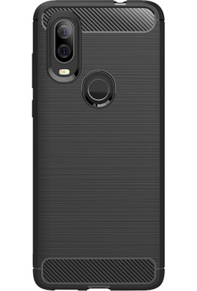 Microcase Motorola Moto One Vision Brushed Carbon Fiber Silikon TPU Kılıf Siyah