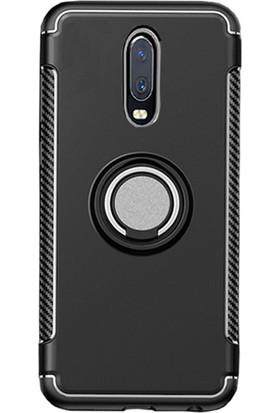 Microcase OnePlus 7 Yüzük Standlı Armor Silikon Kılıf Siyah