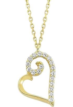 Mardeluz Ar0019 Taşlı Kalp Altın Kolye Ar0019