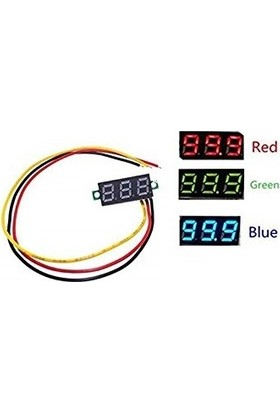 Kırmızı 0.28İnch 0-100V 3 Kablo Dc Voltmetre
