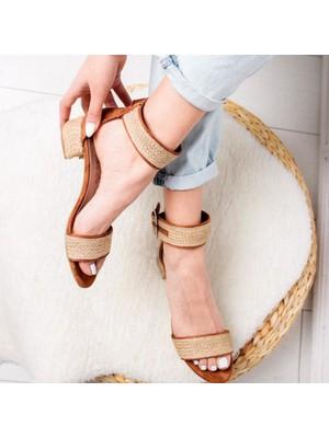 Limoya Maleah Taba Gerçek Hasır Alçak Topuklu Hasır Ökçeli Sandalet