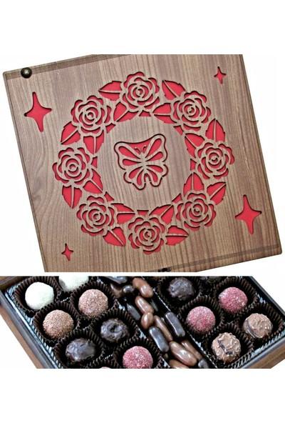 Çikolata Marketi Kelebek ve Gül Motifleriyle Süslenmiş Ahşap Kutulu Hediyelik Çikolata