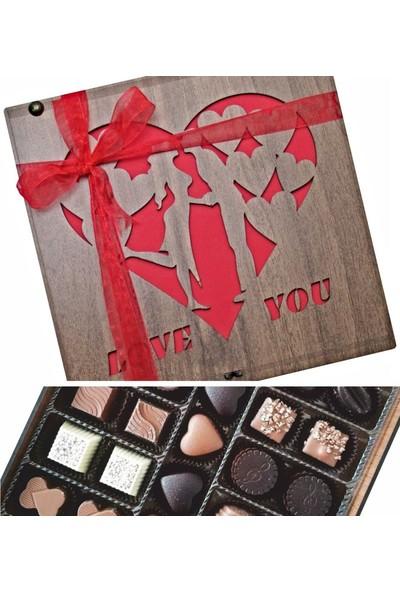Çikolata Marketi Love You Ahşap Kutulu Sevgiliye Hediyelik Lüks Çikolata