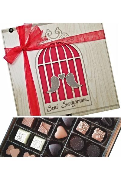 Çikolata Marketi Seni Seviyorum Ahşap Kutulu Sevgiliye Hediyelik Lüks Çikolata