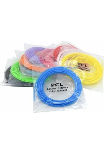 PCL Fi̇lament 3D Pen/kalem 5 Metre 10 Farklı Renk 1.75 mm