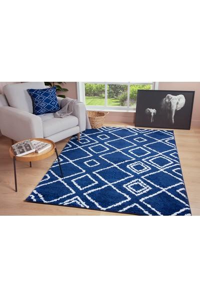 Je Veux Home Moroccan Shaggy Yumuşak, Geometrik Halı Koyu Mavi - Beyaz - 60x90