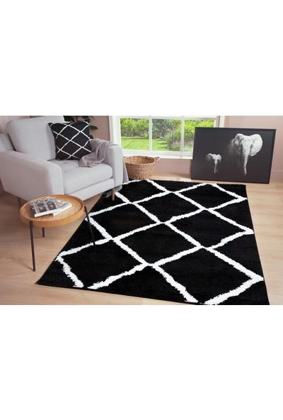 Je Veux Home Diamond Shaggy Yumuşak, Geometrik Halı Siyah - Beyaz - 60x90
