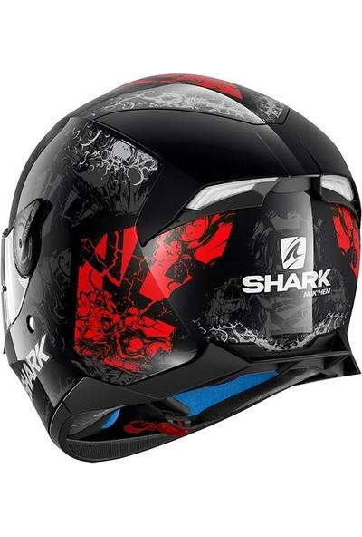 Shark Skwal 2 Nukhem Ledli Kask Kırmızı - Siyah