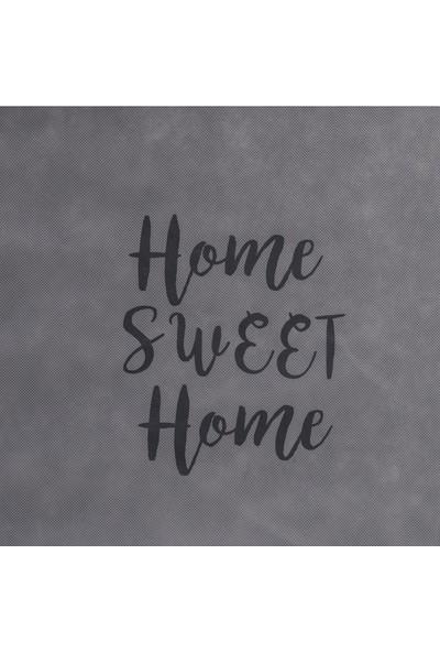 Ocean Home Orta Boy Gri Renk Home Sweet Home Baskılı Hurç // 52X28X21