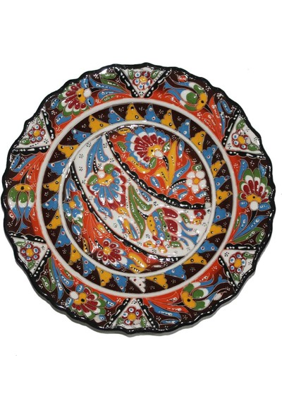 İlbay 30 cm Kütahya Otantik Desenli Çini Tabak - Kahverengi
