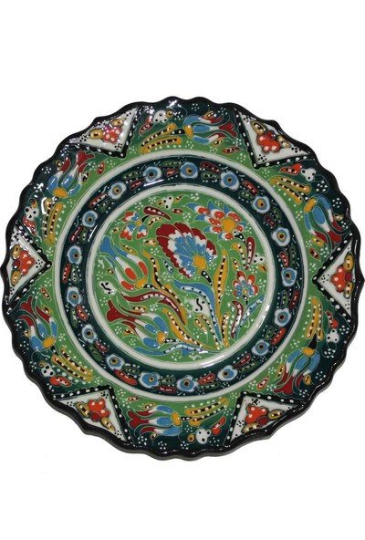 İlbay 30 cm Kütahya Otantik Desenli Çini Tabak - Açık Yeşil