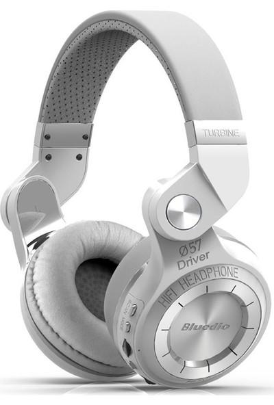 Bluedio T2+ Plus Turbine Mikrofon Micro SD Kart Yuvası FM Radyo Wireless Bluetooth Kulaklık - Beyaz