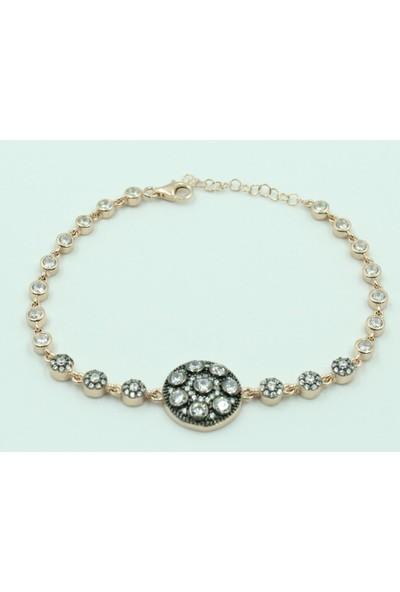 Aykat Taşlı Roz Bayan Bilekliği Gümüş Künye Modeli Kadın Bilezik Blk-222