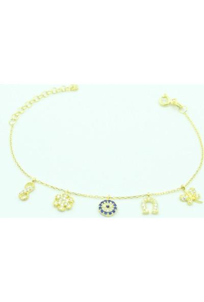 Aykat Sarı Şans Bilekliği Gümüş Taşlı Bayan Künyesi Değişik Figürlü Bilezik Blk-243