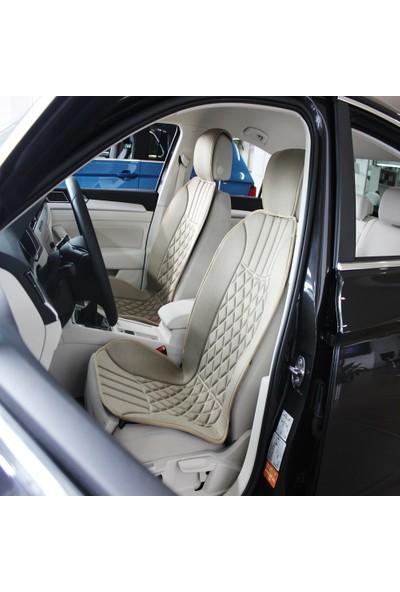 Sanalmaster Toyota Auris-Corolla-Yaris-Avensis Uyumlu Terletmeyen Ön Oto Koltuk Minderi Bej