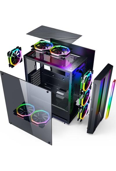 GameBooster GB-G3601B USB3.0 Siyah Rainbow RGB Fan Strip Kasa (PSU Yok) (JBST-GBG3601B)
