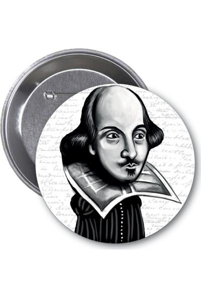 William Shakespeare Karikatür Rozet