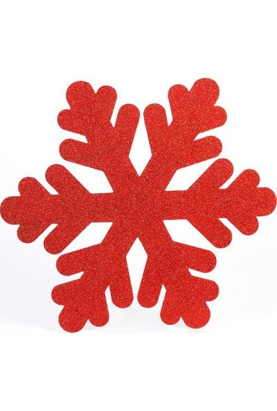 Event Party Store Yılbaşı Strafor Kar Tanesi Kırmızı 48 cm x 48 cm