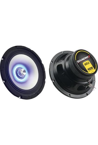 Soundmax Sx-M8Ld 20 Cm Led Midrange Speaker 400W Mavi Renk tekli kutu