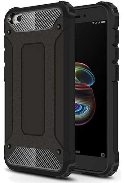 Coverzone Redmi Go Xiaomi Redmi Go Kılıf Shockproof Zırh Koruma Kılıf Siyah + Nano Glass Nano Ekran Koruma