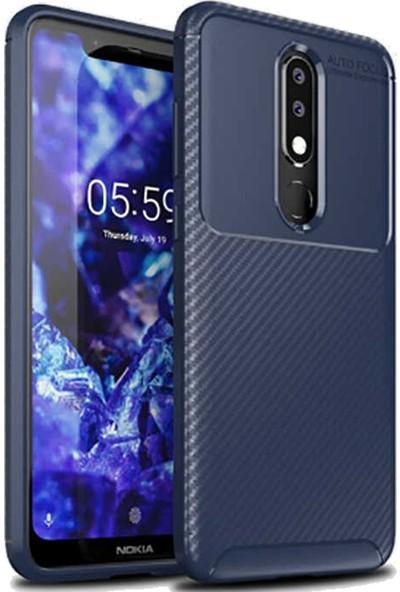 Coverzone Nokia 3.2 Kılıf Pc Karbon Delüx Tpu Silikon Lacivert + Nano Glass Nano Ekran Koruma + Dokunmatik Kalem