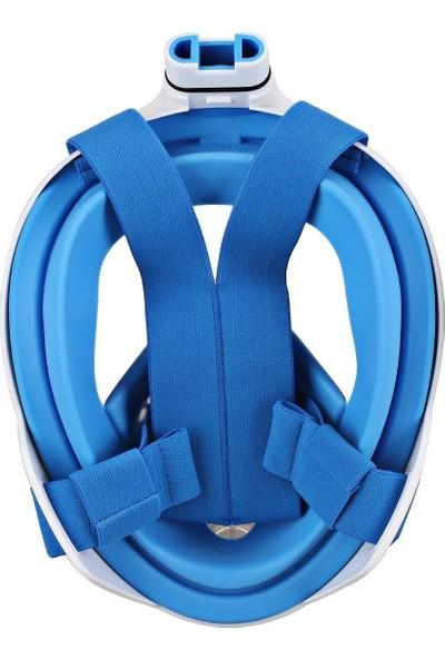 Breathe Free Yüzme Maskesi̇ Şnorkel - Tam Yüz - Go Pro Aksi̇yon Kamerasi Takilabi̇li̇r - Mavi̇