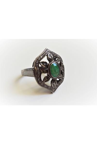 Sufi Design, Pırlanta ve Zümrüt Taşlı , Gümüş Yüzük GPR0064