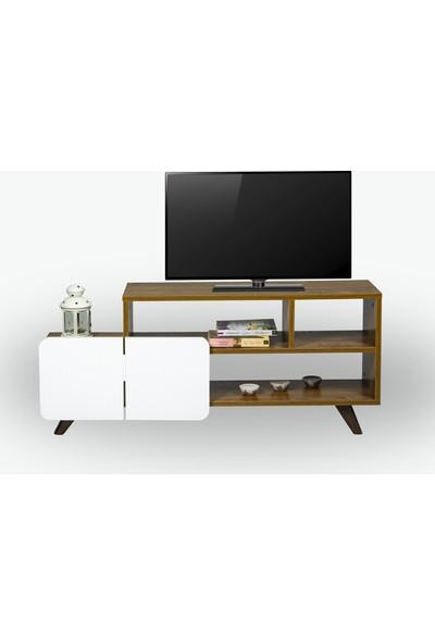 Missia Mobilya Monza 120 cm Tv Ünitesi Ceviz+Beyaz