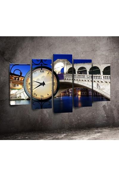 Canvastime By Cadran 100 x 60 cm Dekoratif 5 Parçalı Kanvas Saat TMG142