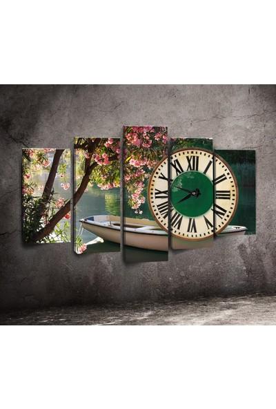Canvastime By Cadran 100 x 60 cm Dekoratif 5 Parçalı Kanvas Saat TMG111