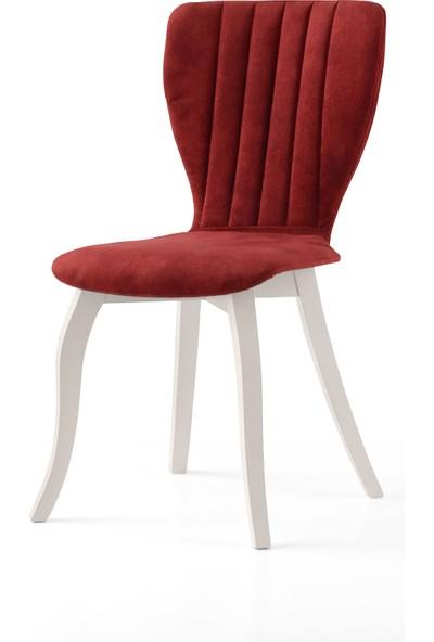 Evistro Sandalye Salon Sandalyesi Ahşap Vintage Ayaklı 6 Adet Bordo