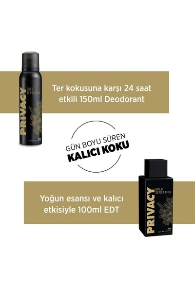 Privacy Gold Man EDT 100 ml Erkek Parfüm & 150 ml Deodorant